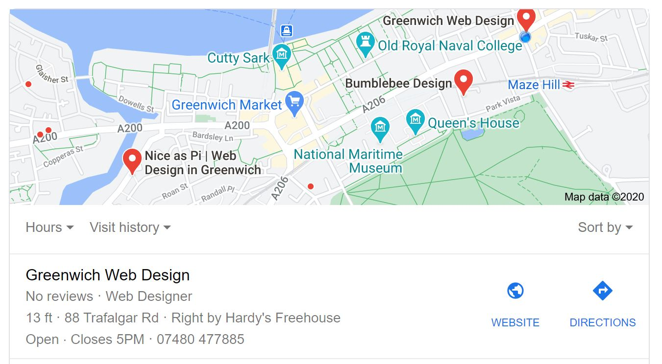 SEO Example Greenwich Web Design